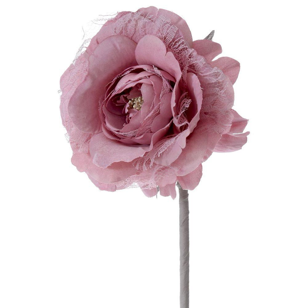 60962 CVET VEŠTAČKI RUŽA PLATNENA PINK 14*75cm