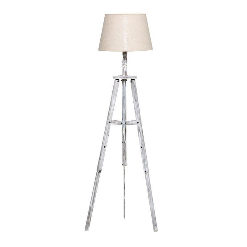 3157160135 DRVENA PODNA LAMPA U ANTIK BELOJ BOJI 40*150cm