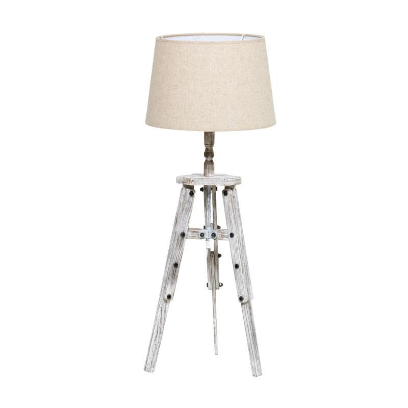 3157160136 DRVENA STONA LAMPA U ANTIK BELOJ BOJI 30*76cm