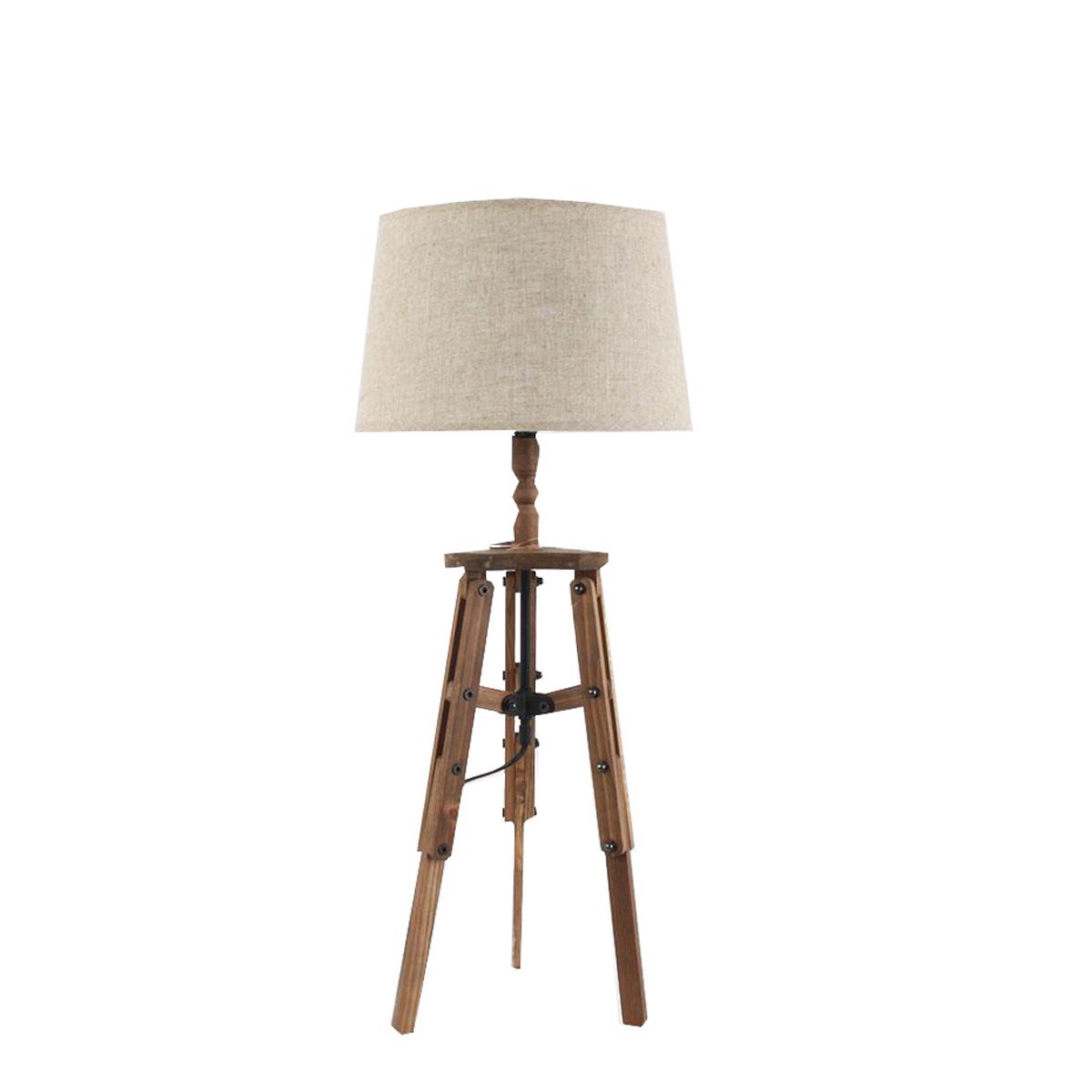 3157160114 DRVENA STONA LAMPA SA PLATNENIM ABAŽUROM 30*76cm