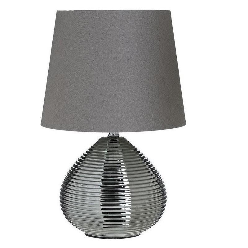 3155010024 LAMPA KERAMIČKA SIVA SA PLATNENIM ABAŽUROM 23*36cm