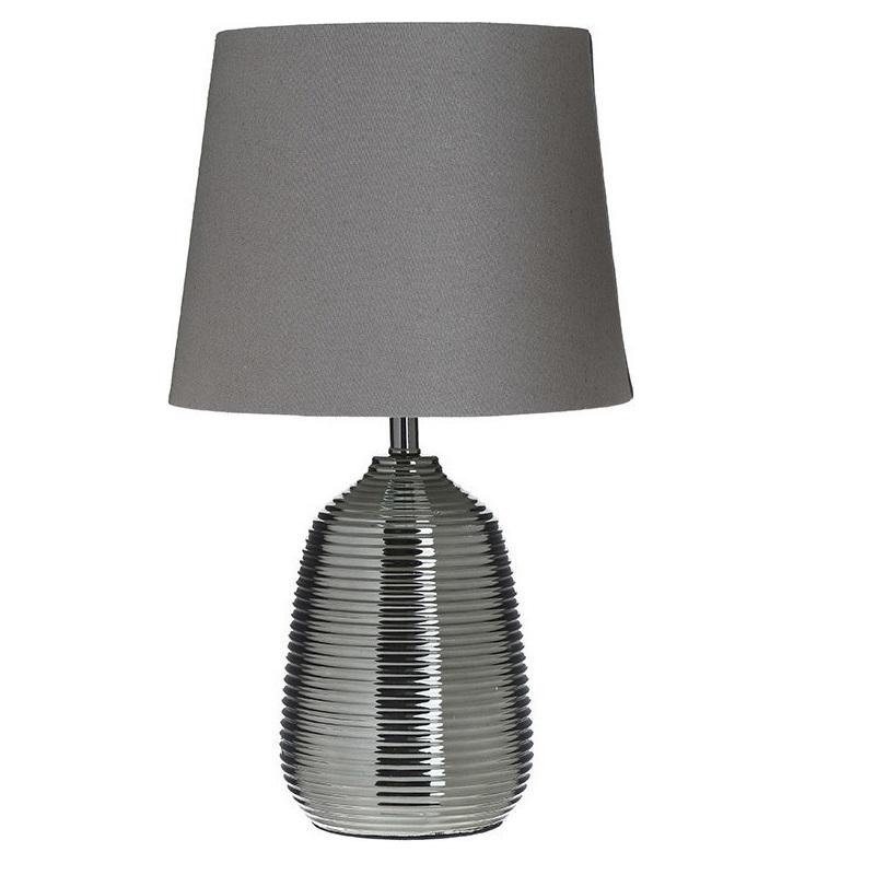3155010026 LAMPA KERAMIČKA SIVA SA PLATNENIM ABAŽUROM