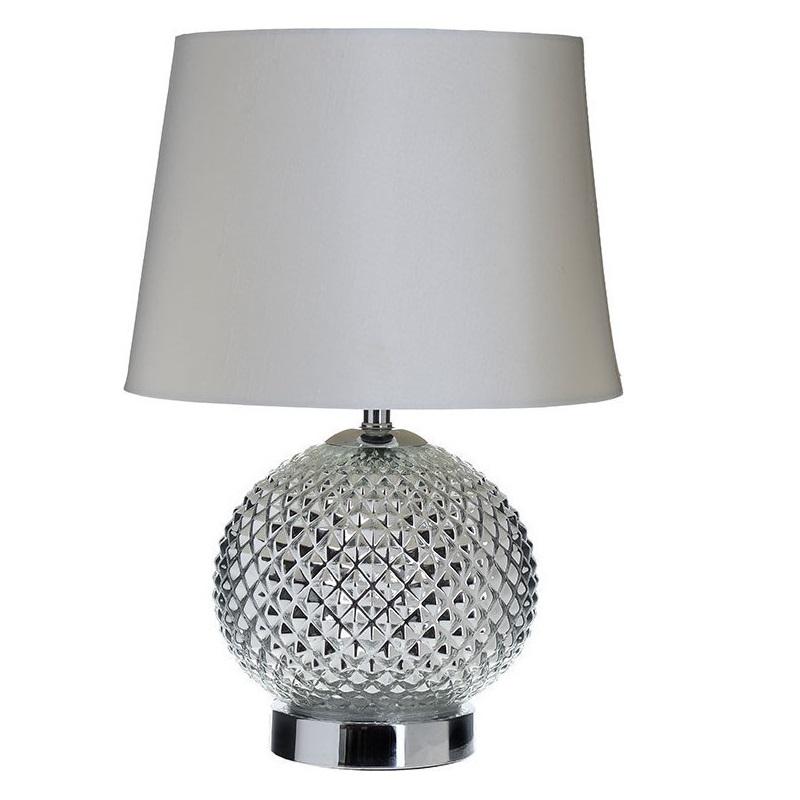 3155010028 LAMPA STAKLENA SREBRNA SA PLATNENIM ABAŽUROM