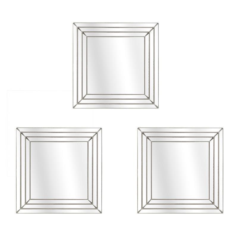 3952900027  OGLEDALA PLASTIČNA ZIDNA ANTIK ZLATNA S/3 25x25 cm
