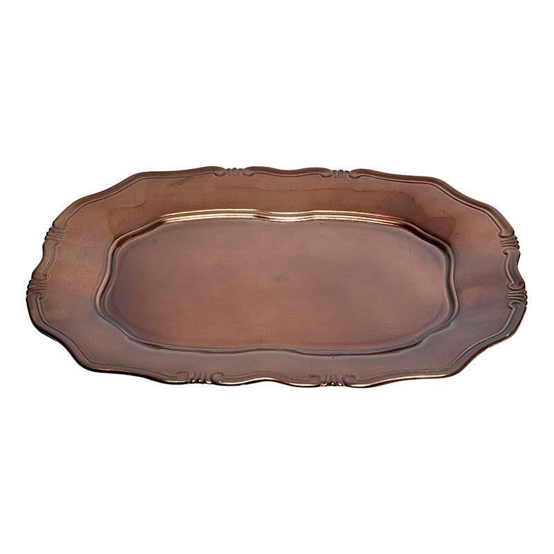 3700190120 PLASTIČNI TANJIR ANTIQUE BRAOWN 43*32*2.7cm