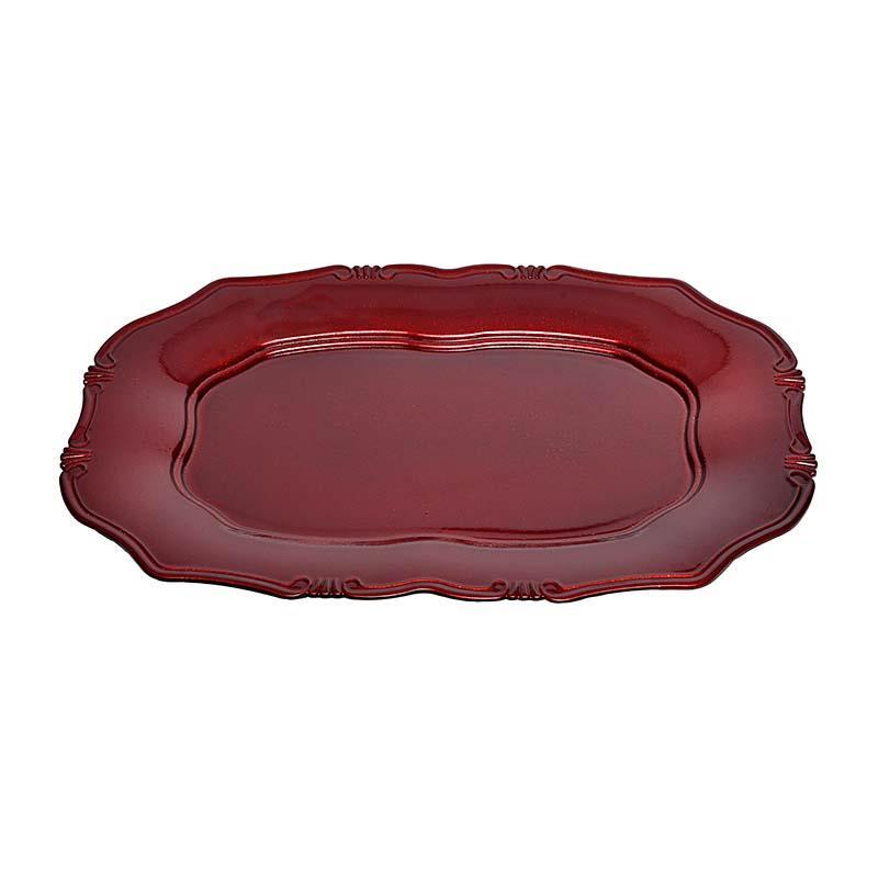 3700190116 PLASTIČNI TANJIR ANTIQUE RED 38*26*2.5cm