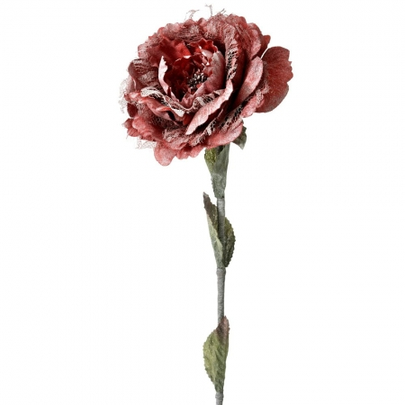 63068 CVET VEŠTAČKI RUŽA PLATNENA SA ČIPKOM CRVENA 13*65cm