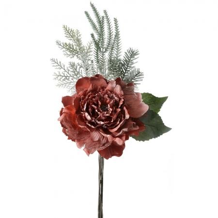 63073 CVET VEŠTAČKI RUŽA PLATNENA SA ČIPKOM CRVENA 23*50cm