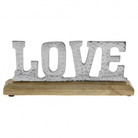 58391 DEKORACIJA LOVE INOX NA DRVENOM POSTOLJU 28*5*12cm