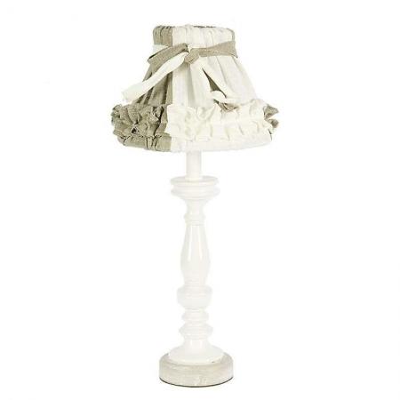 3158760115 DRVENA LAMPA BEŽ-BELA SA PLATNENIM ABAŽUROM SA KARNERIMA 20*20*47cm