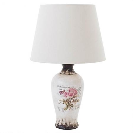 3154900002 LAMPA STONA KERAMIČKA SA PLATNENIM ABAŽUROM DEZEN RUŽE