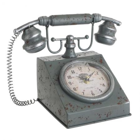 3209770206 SAT STONI U OBLIKU TELEFONA METALNI U MINT BOJI 27*18.5*20cm